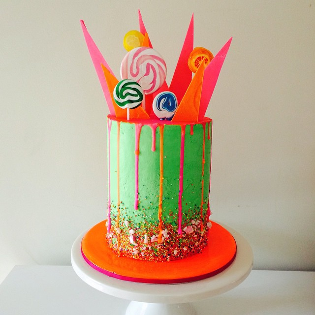 Neon Candy Birthday Cake