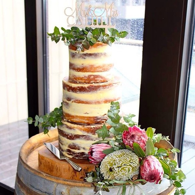 Naked Cake with Eucalyptus Leaves