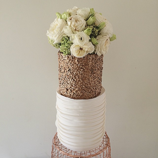 Wedding Cake with Copper Sequins