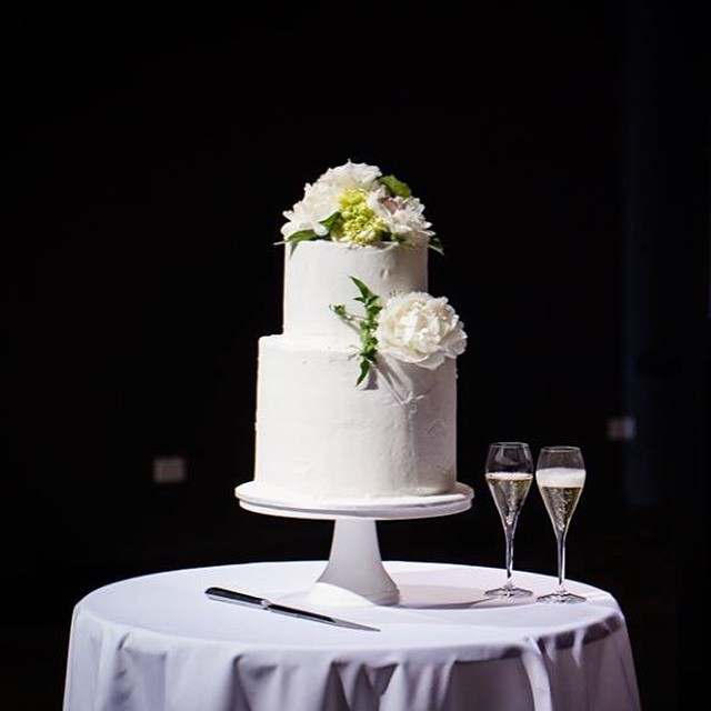 White Buttercream Wedding Cake with Flowers