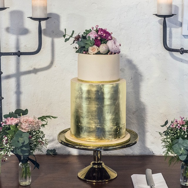 Gold Leaf Wedding Cake with Flowers