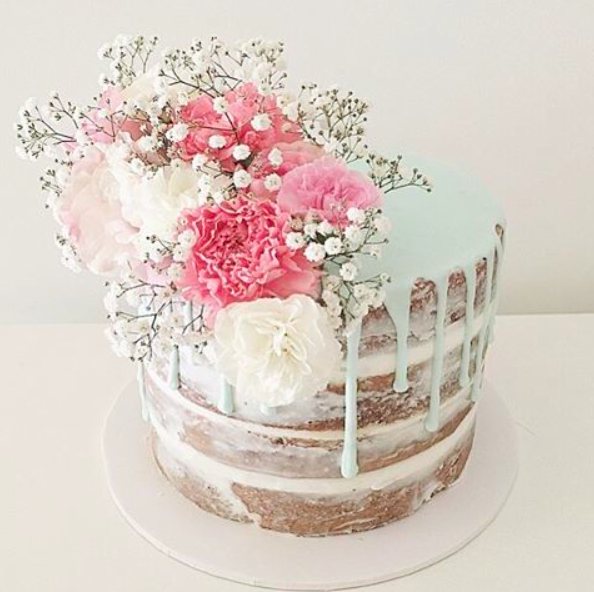 Naked Cake with Pastel Blue Drip