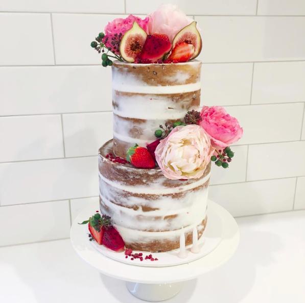 Naked Cake with Fresh Fruit & Flowers