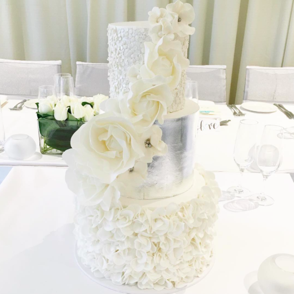 White Wedding Cake with Sugar Flowers