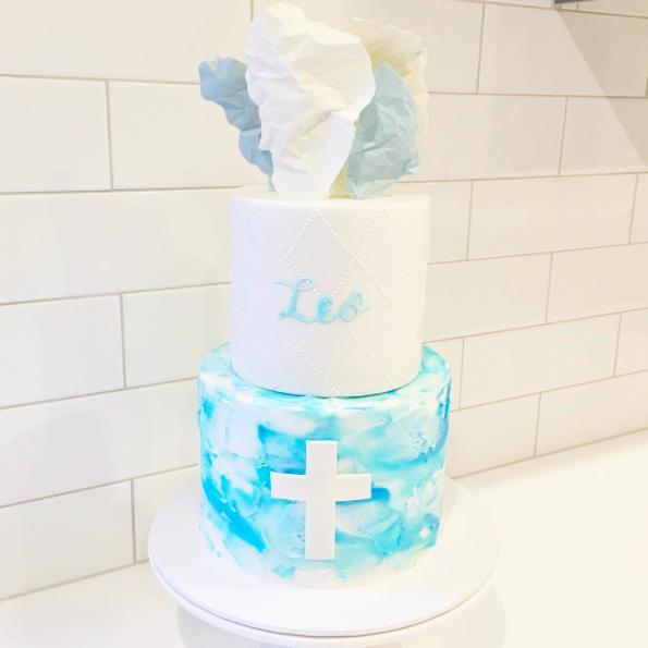 Blue Watercolour Buttercream Cake