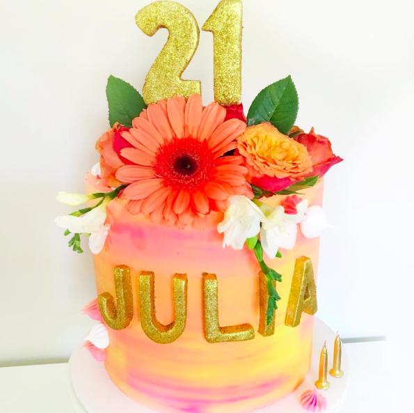 Orange, Pink & Yellow Watercolour Cake