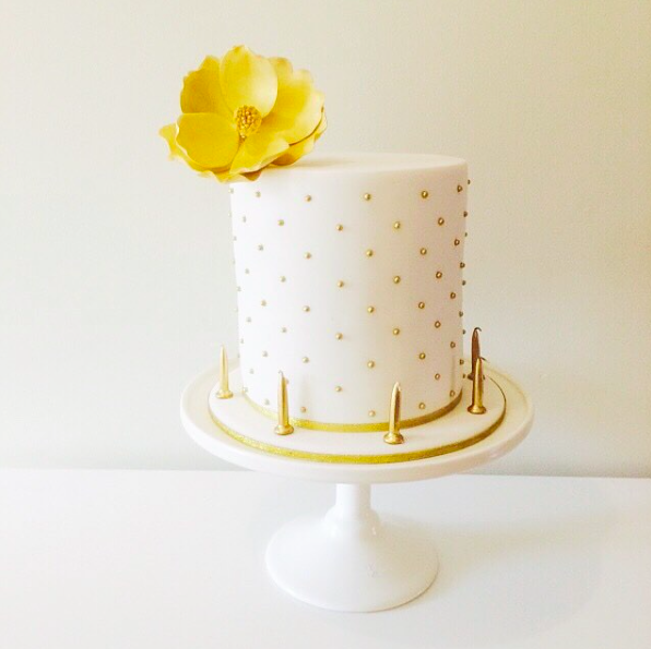Gold Dot Birthday Cake