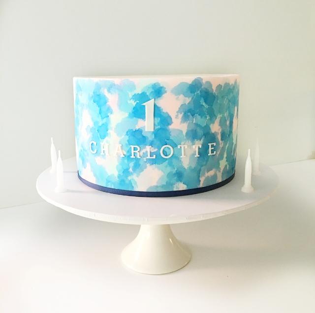 Blue & Pink Watercolour Cake