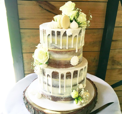 Naked Cake with White Drip