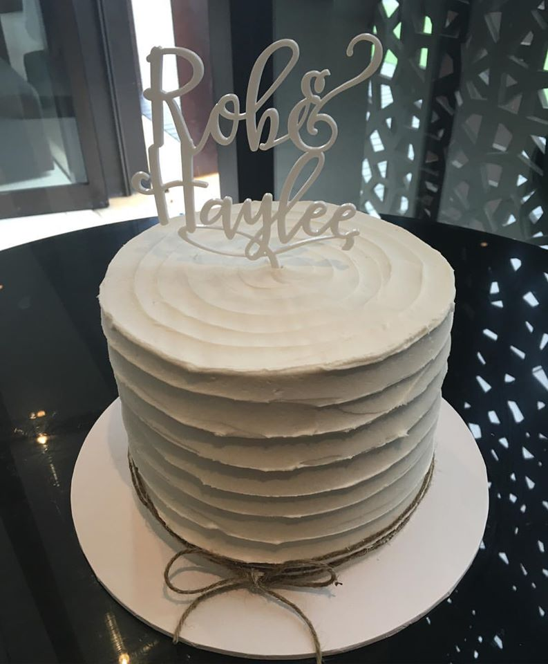 Buttercream Engagement Cake with Topper