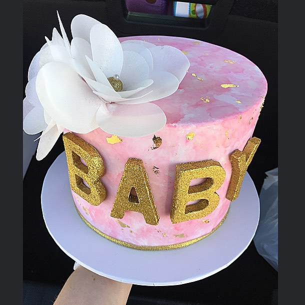Pink Watercolour Baby Shower Cake