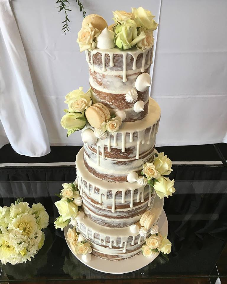 Naked Wedding Cake with White Drip