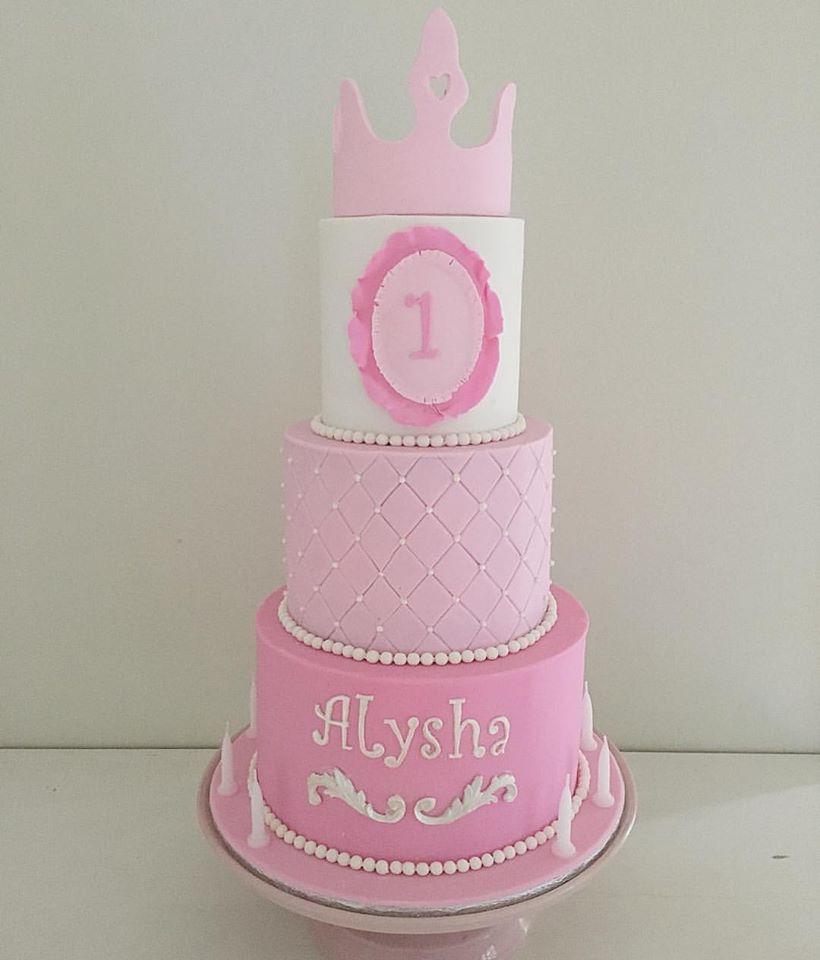 Pink Princess 1st Birthday Cake