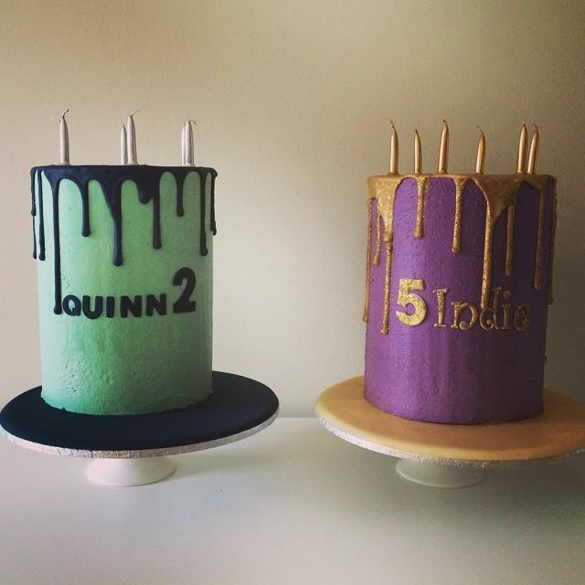 Matching Drip Birthday Cakes