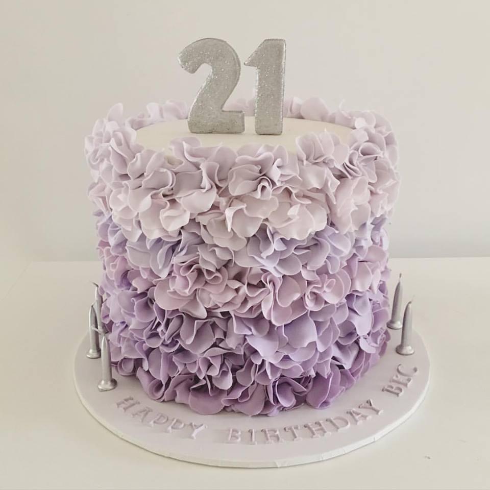 Purple Ruffle Birthday Cake