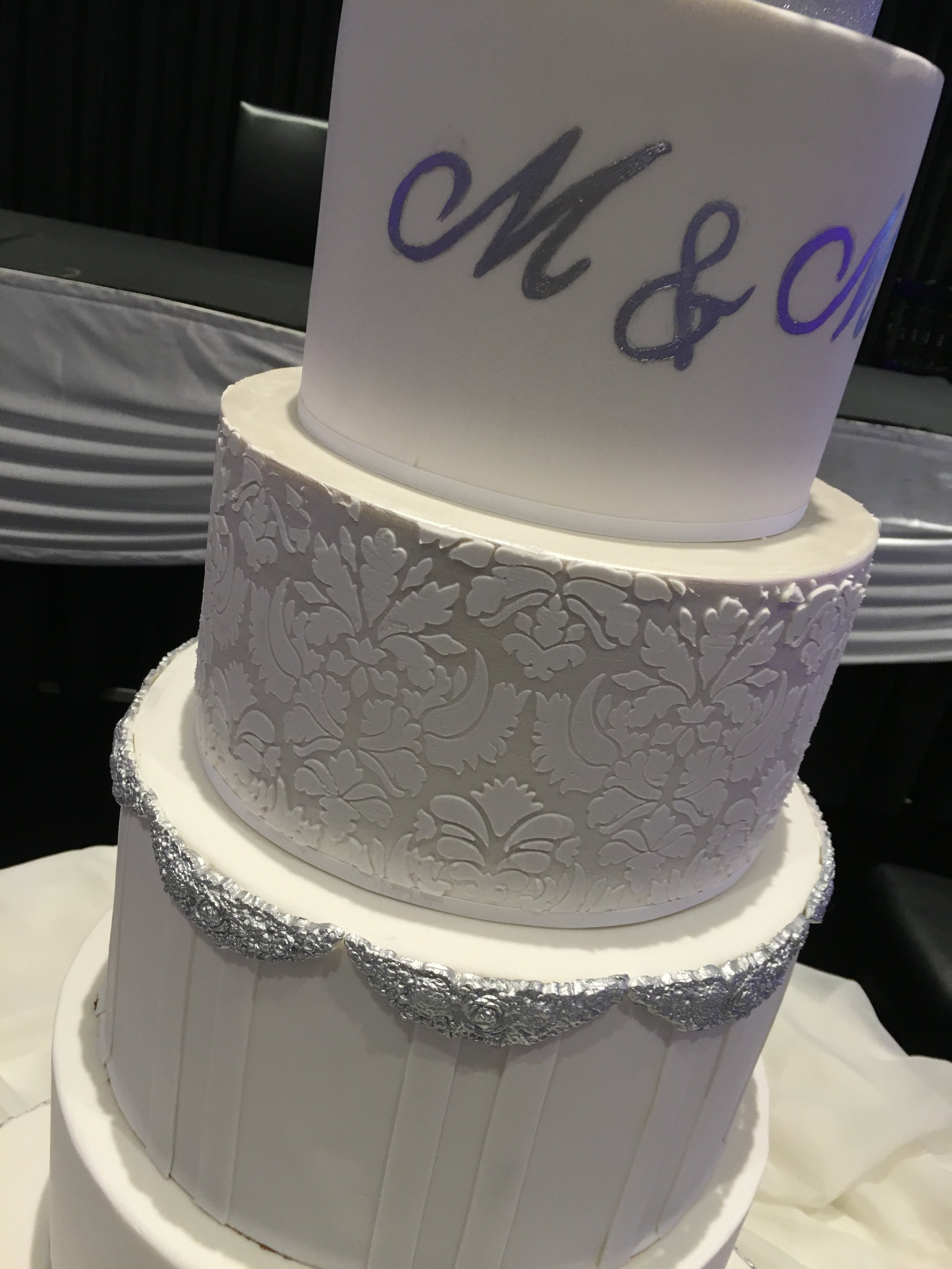 Initials, Damask Stencil & Silver Moulded Edging