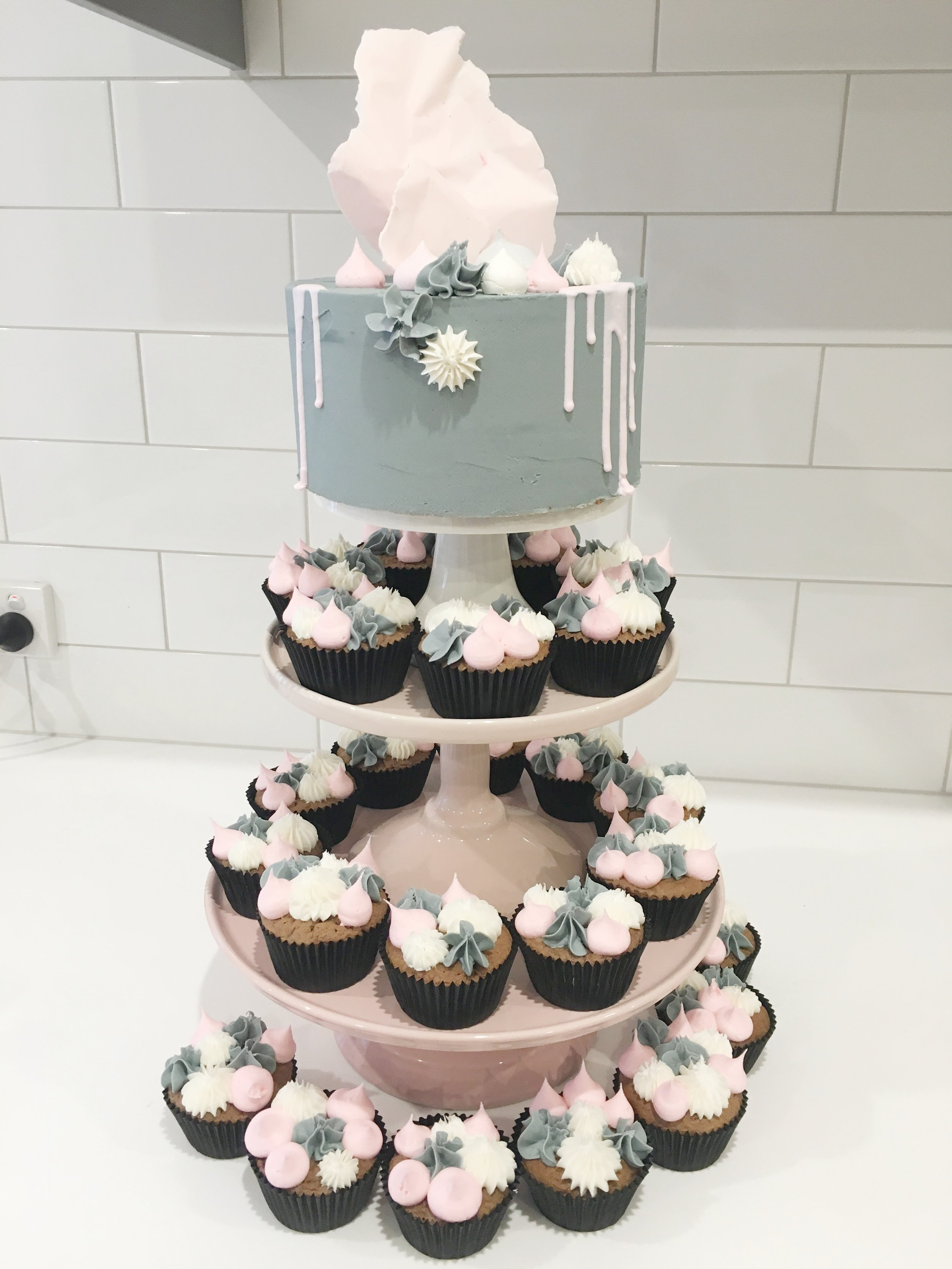 Concrete Cake with Matching Cupcakes