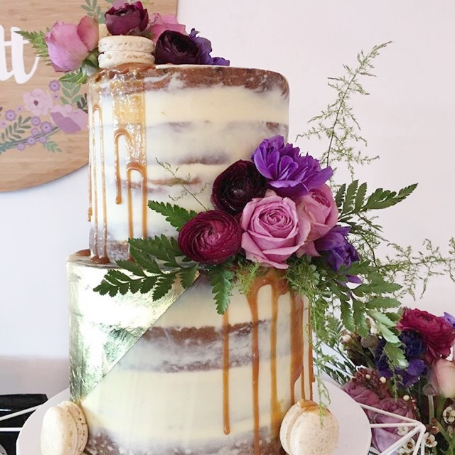 Naked cake with Gold Leaf