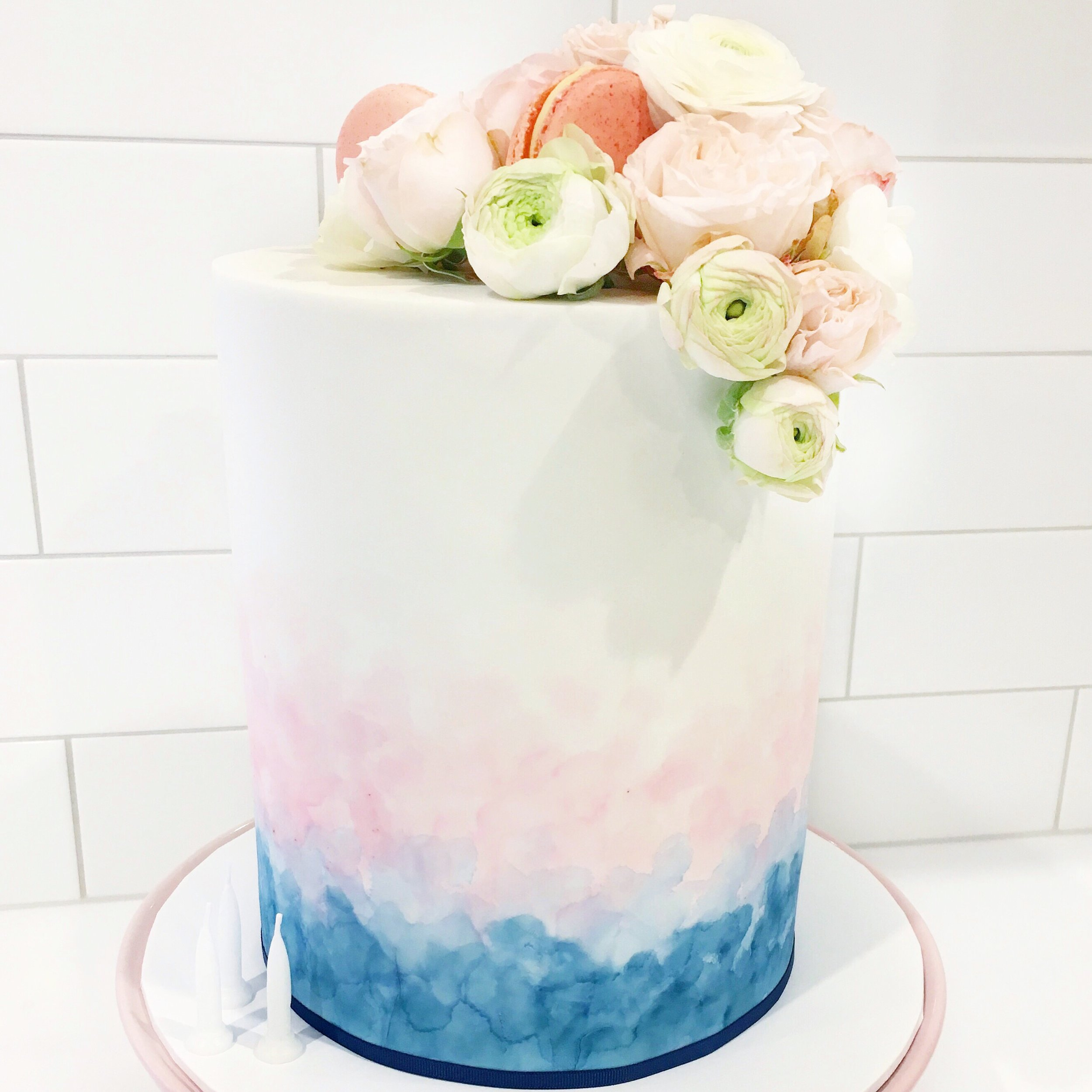 Pink & Blue Watercolour Cake