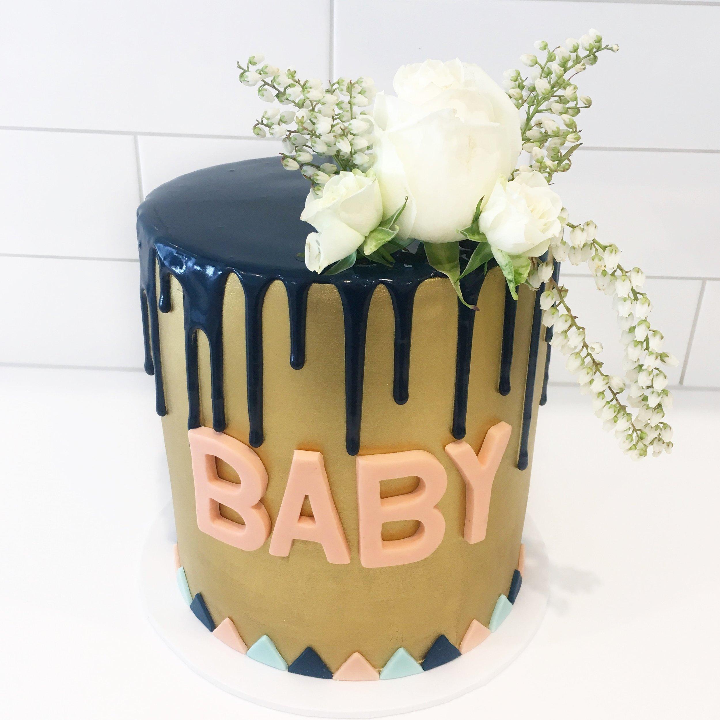 Gold & Drip Baby Shower Cake