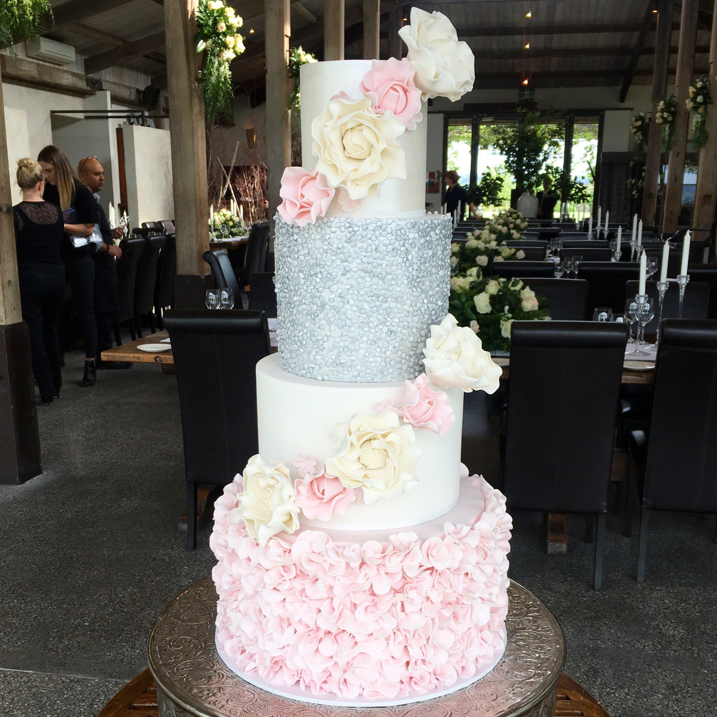 Copy of Pink & Silver Wedding Cake