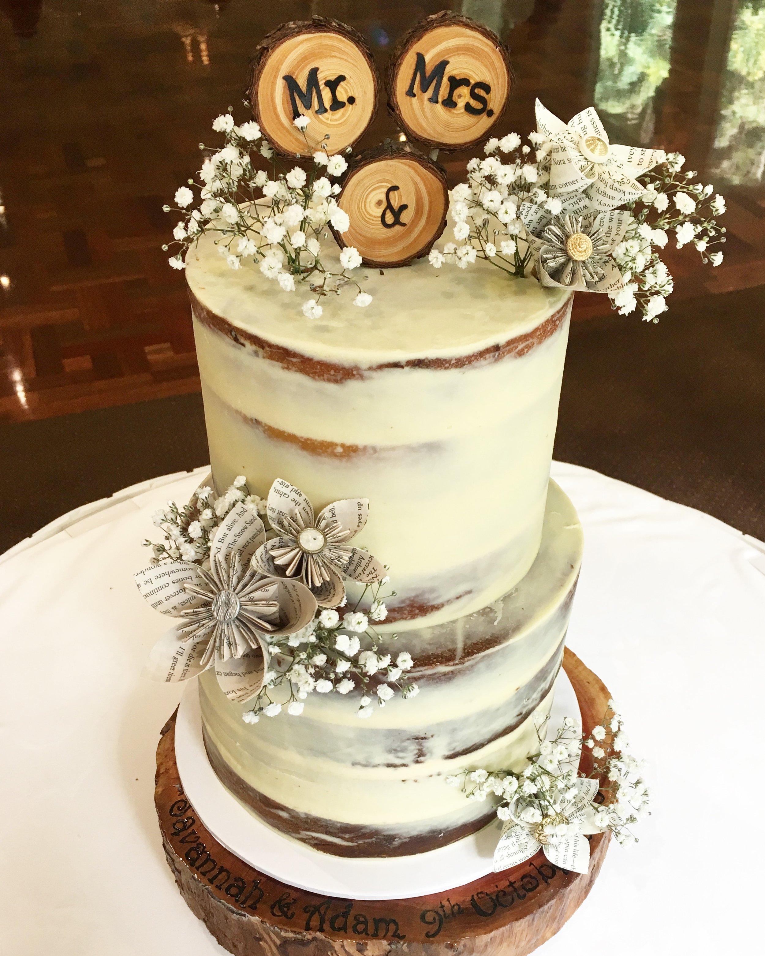 Naked Wedding Cake with Origami Flowers