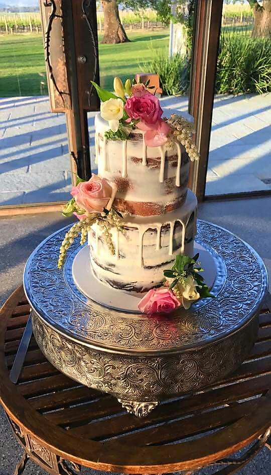 Naked Wedding Cake with Fresh Flowers