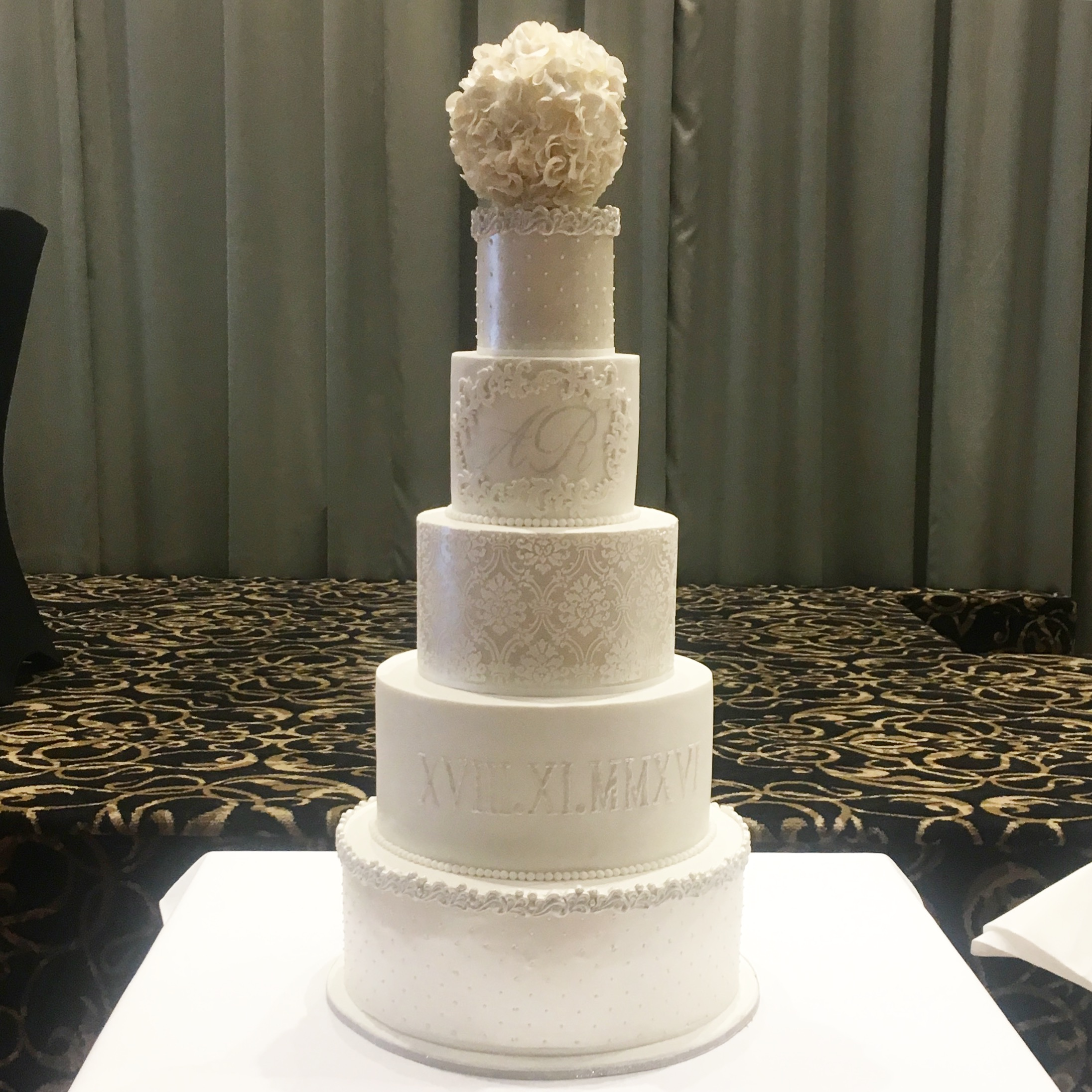 Showstopper Wedding Cake with Ruffle Ball Topper