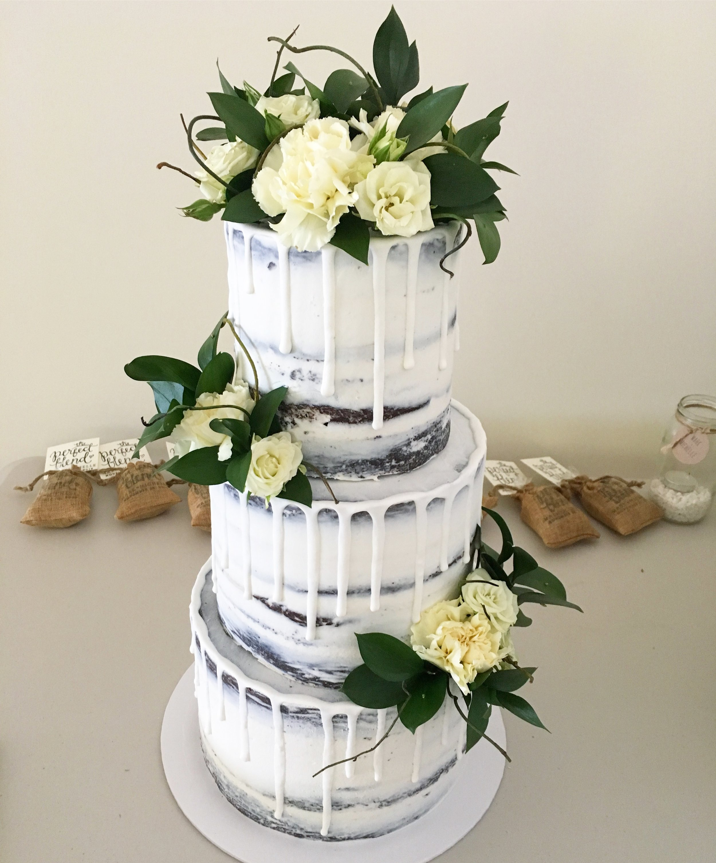Naked Cake with Drip & Flowers