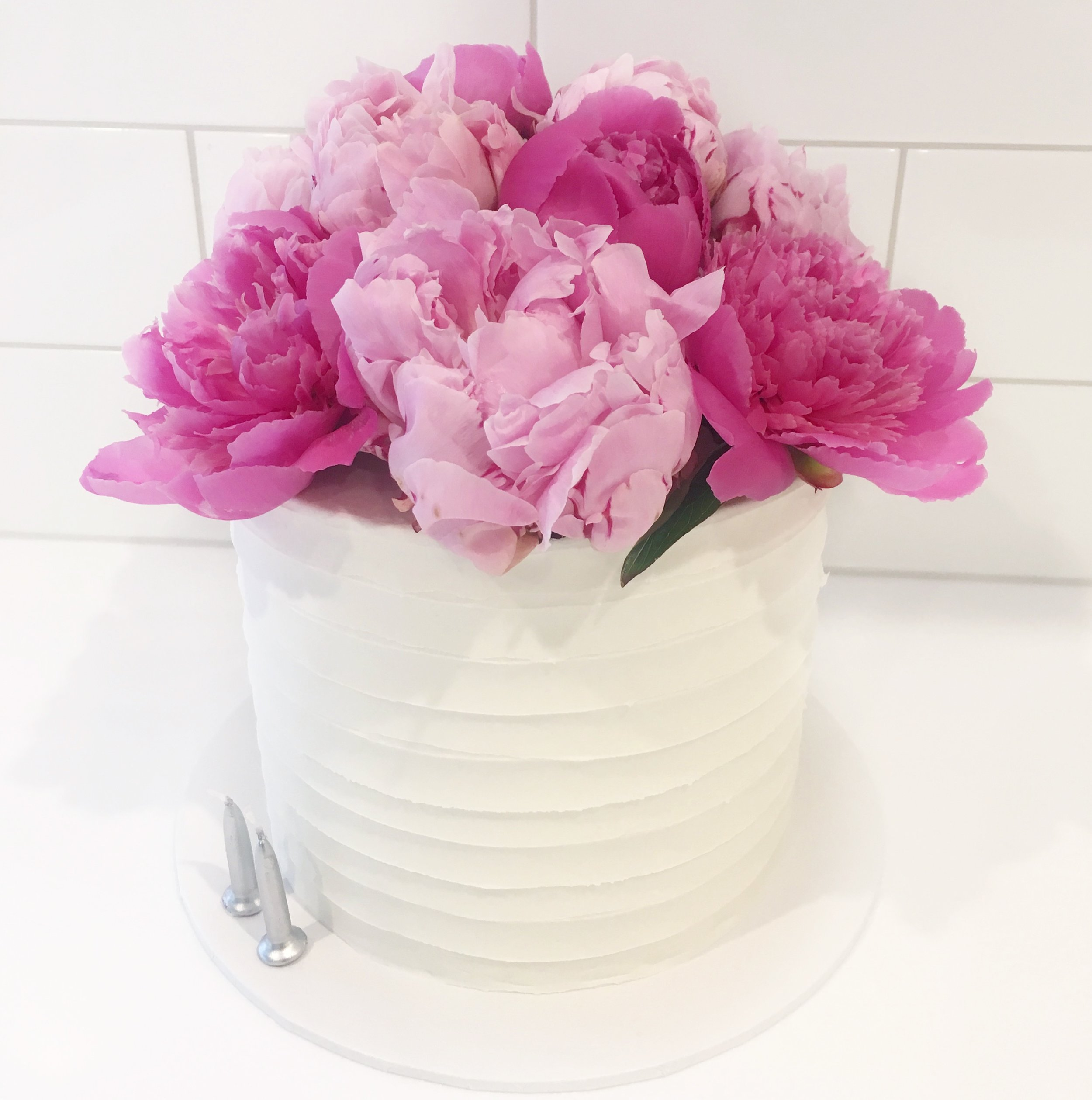 Buttercream Cake with Pink Peonies