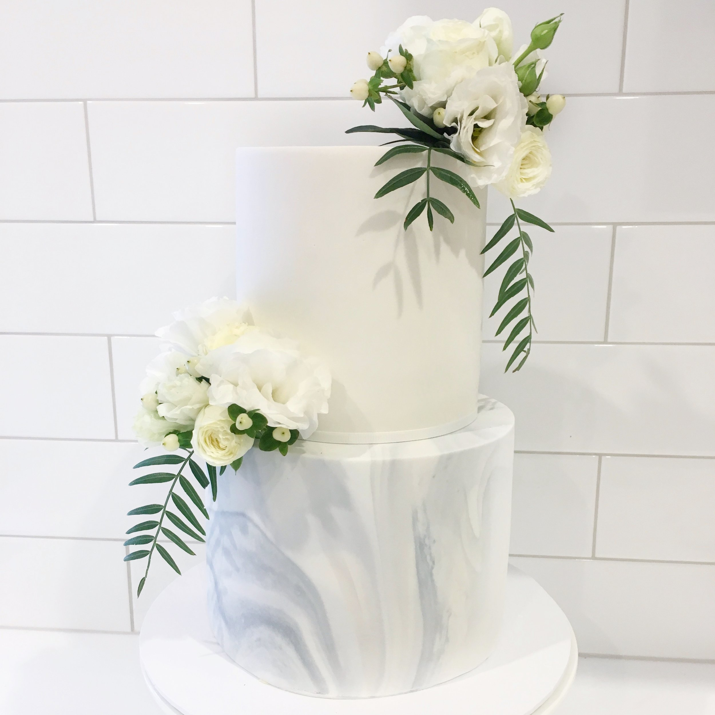 Marble Finish Cake with Fresh Flowers