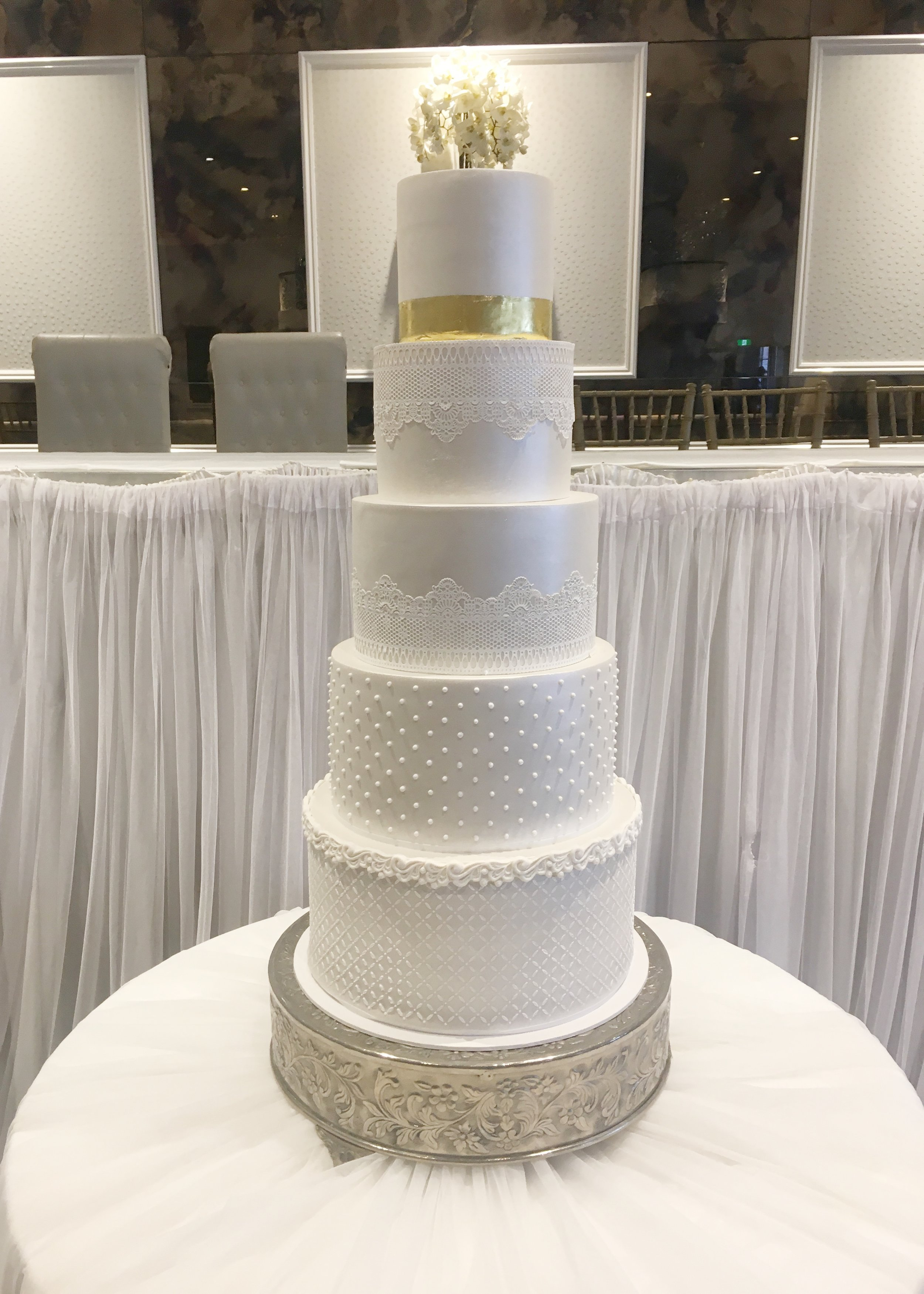 Large Wedding Cake with Edible Lace