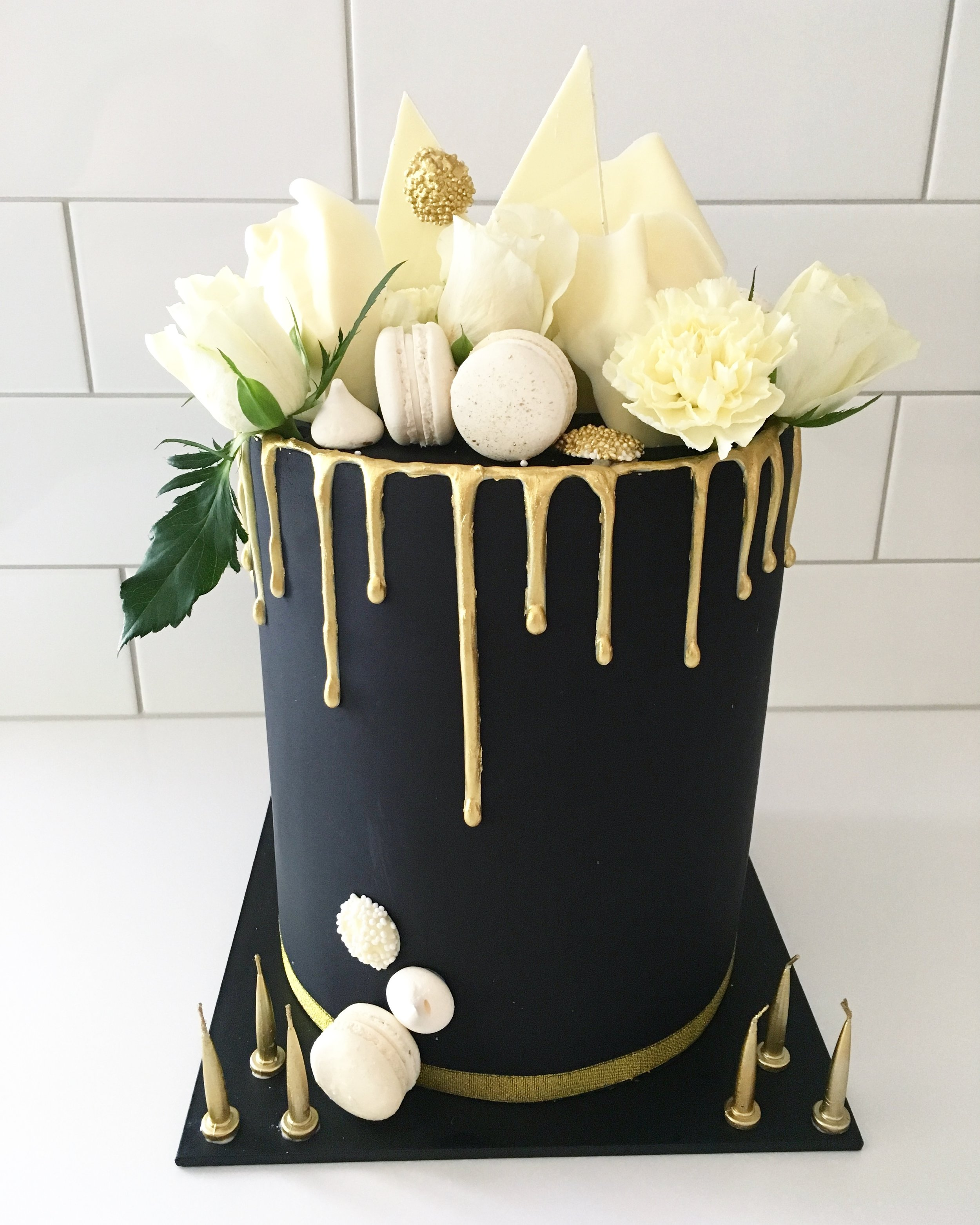 Black Cake with Gold Drop