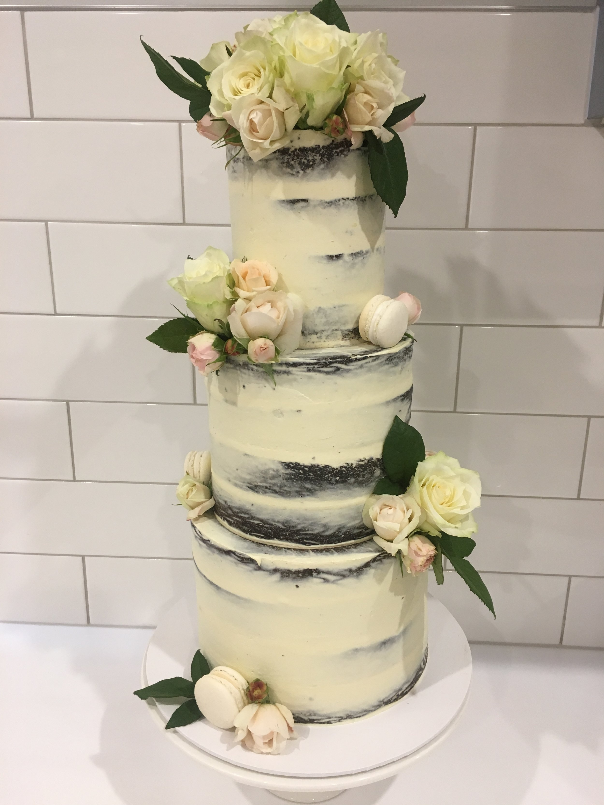 Naked Cake with Pink Fresh Flowers