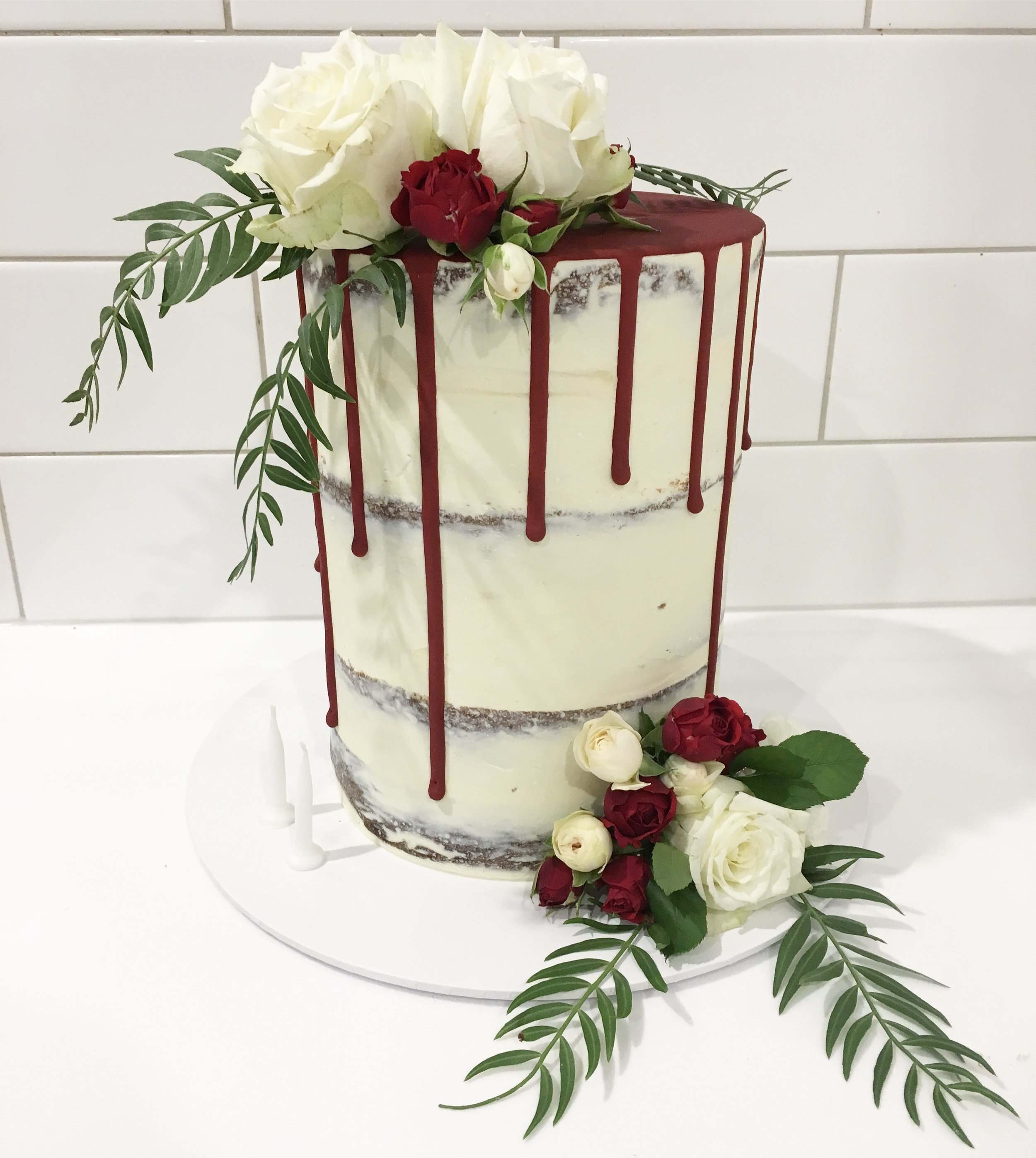 Naked Cake with Red Drip