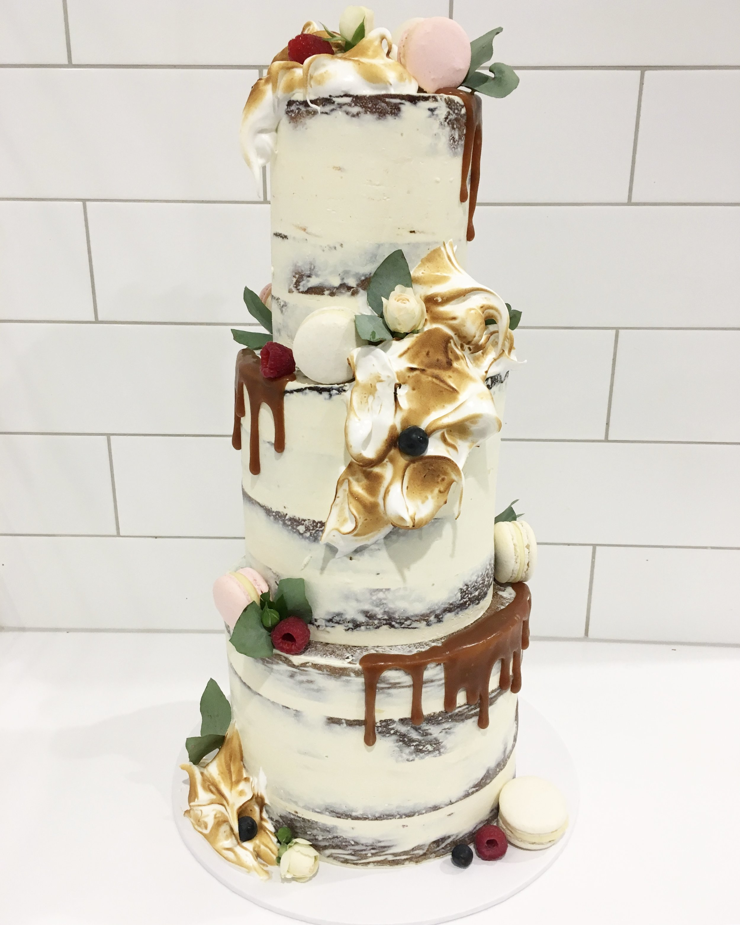 Naked Cake with Scorched Meringues
