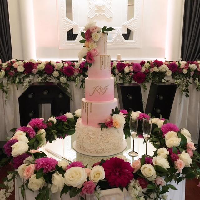 Pink Watercolour Wedding Cake