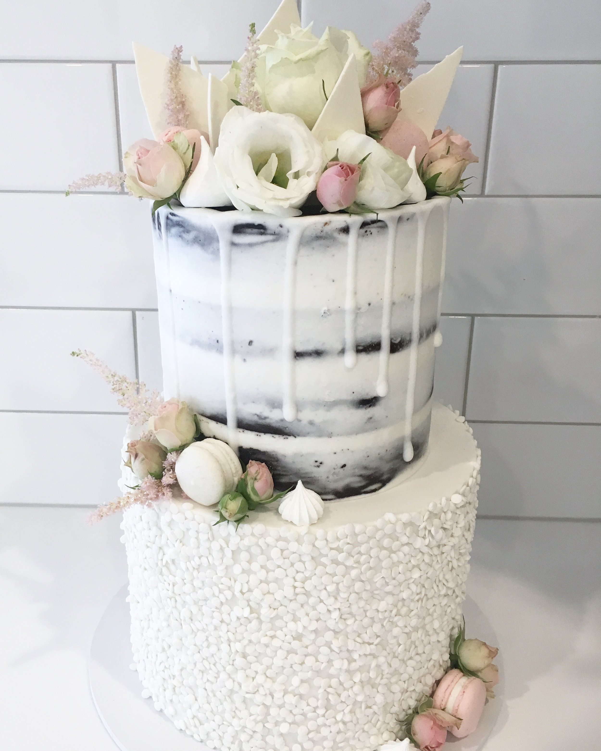 Naked and Sequin Wedding Cake