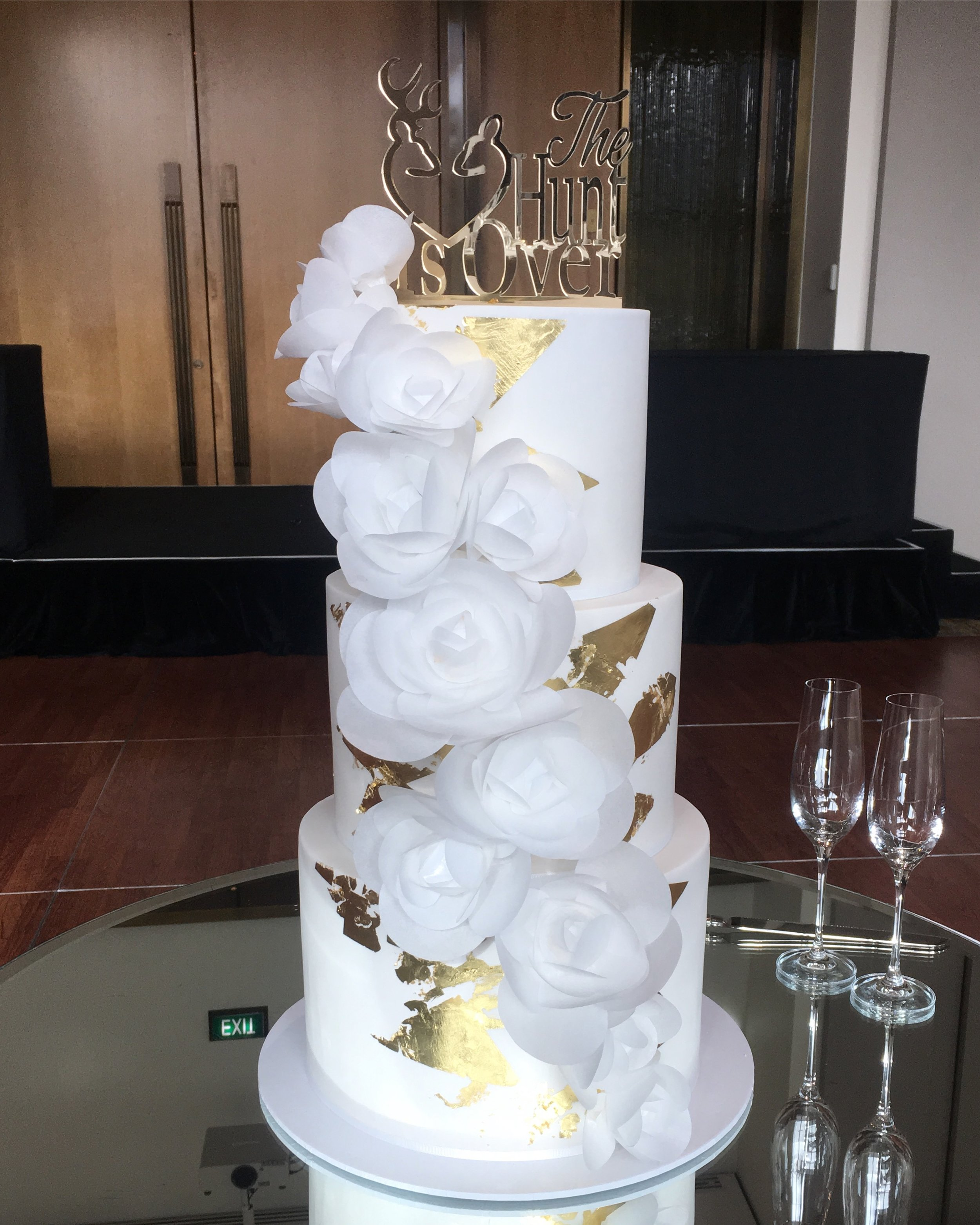 White Wedding Cake with Wafer Flowers