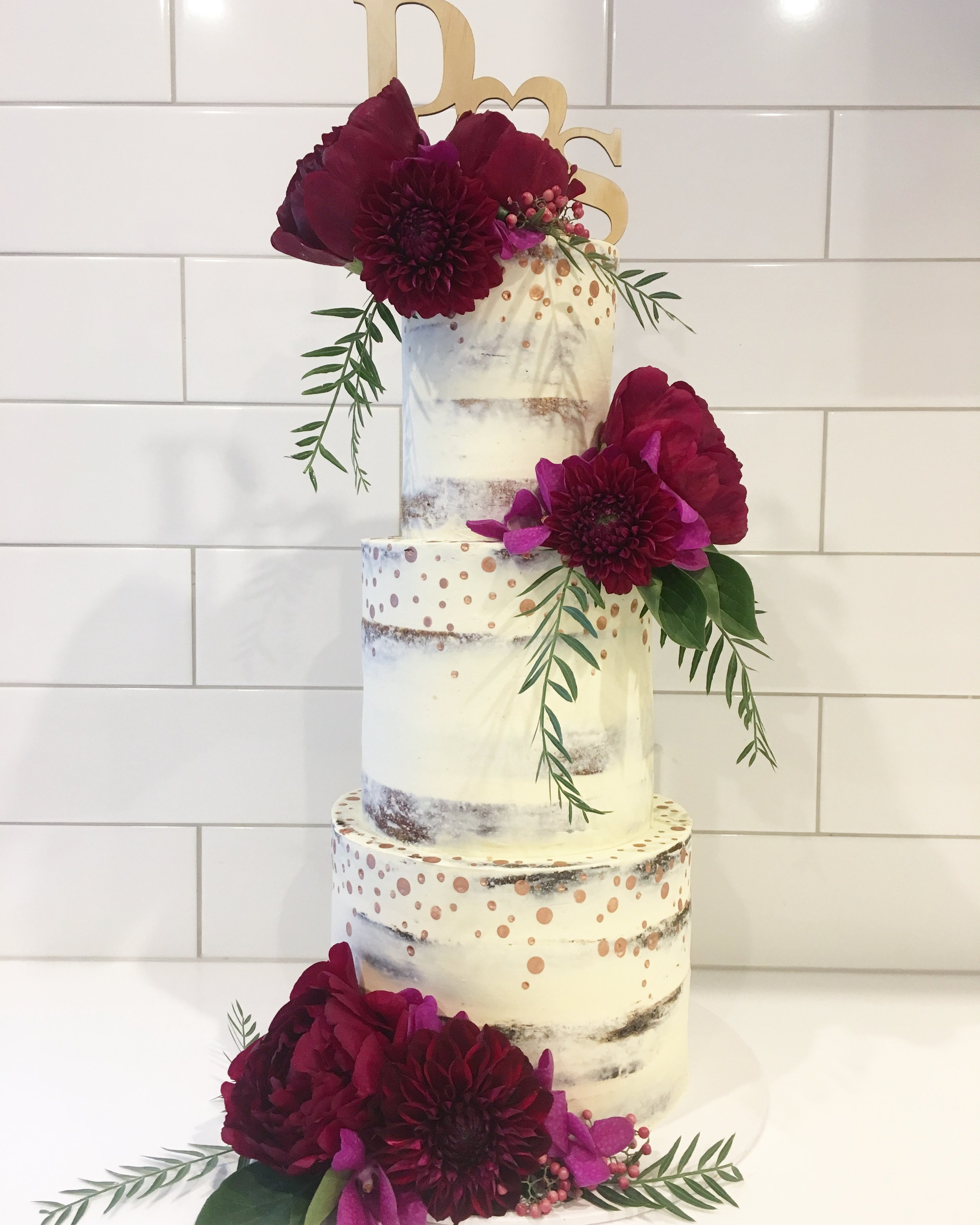 Naked Cake with Painted Dots