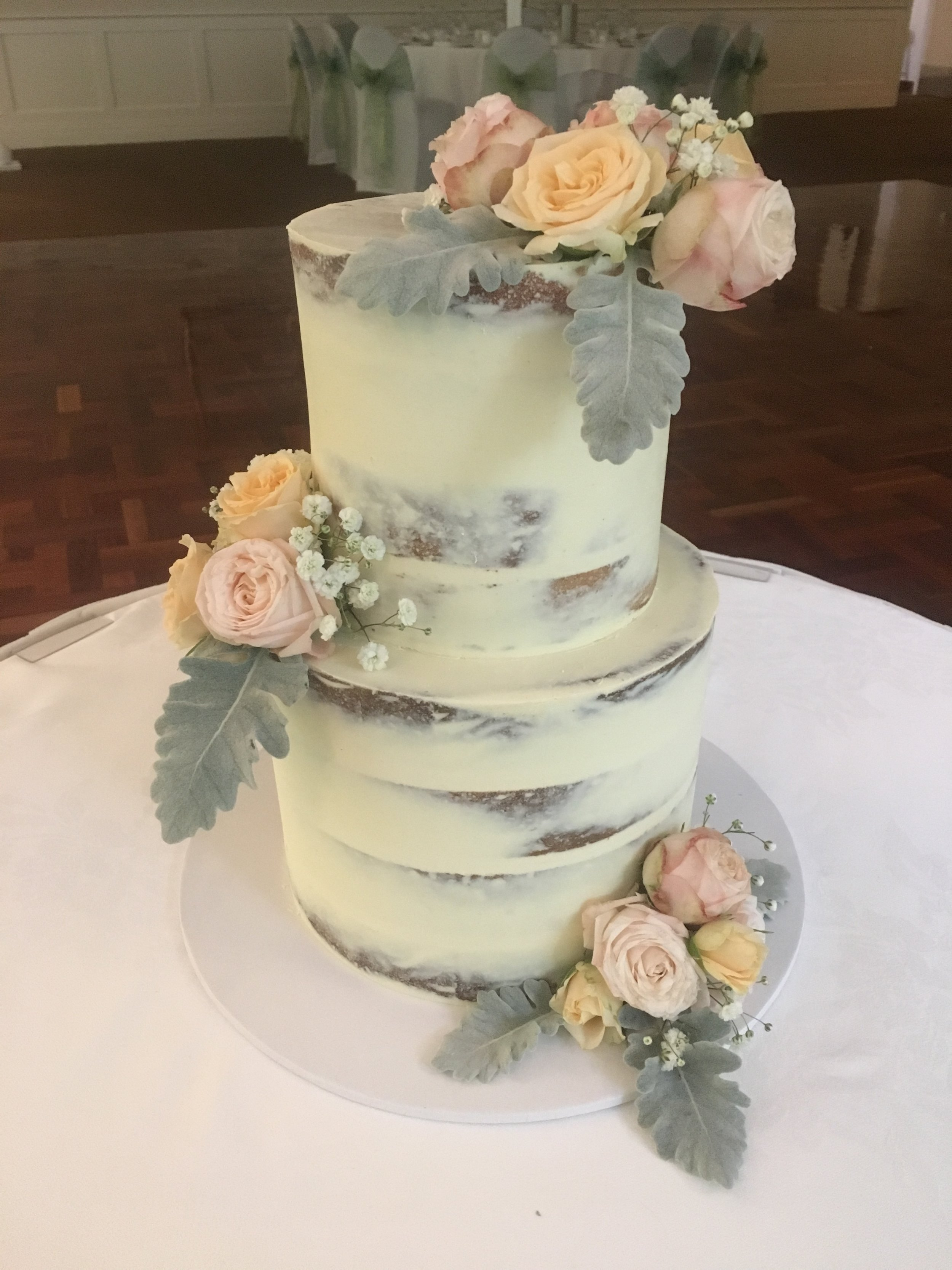 Naked Cake with Pastel Flowers