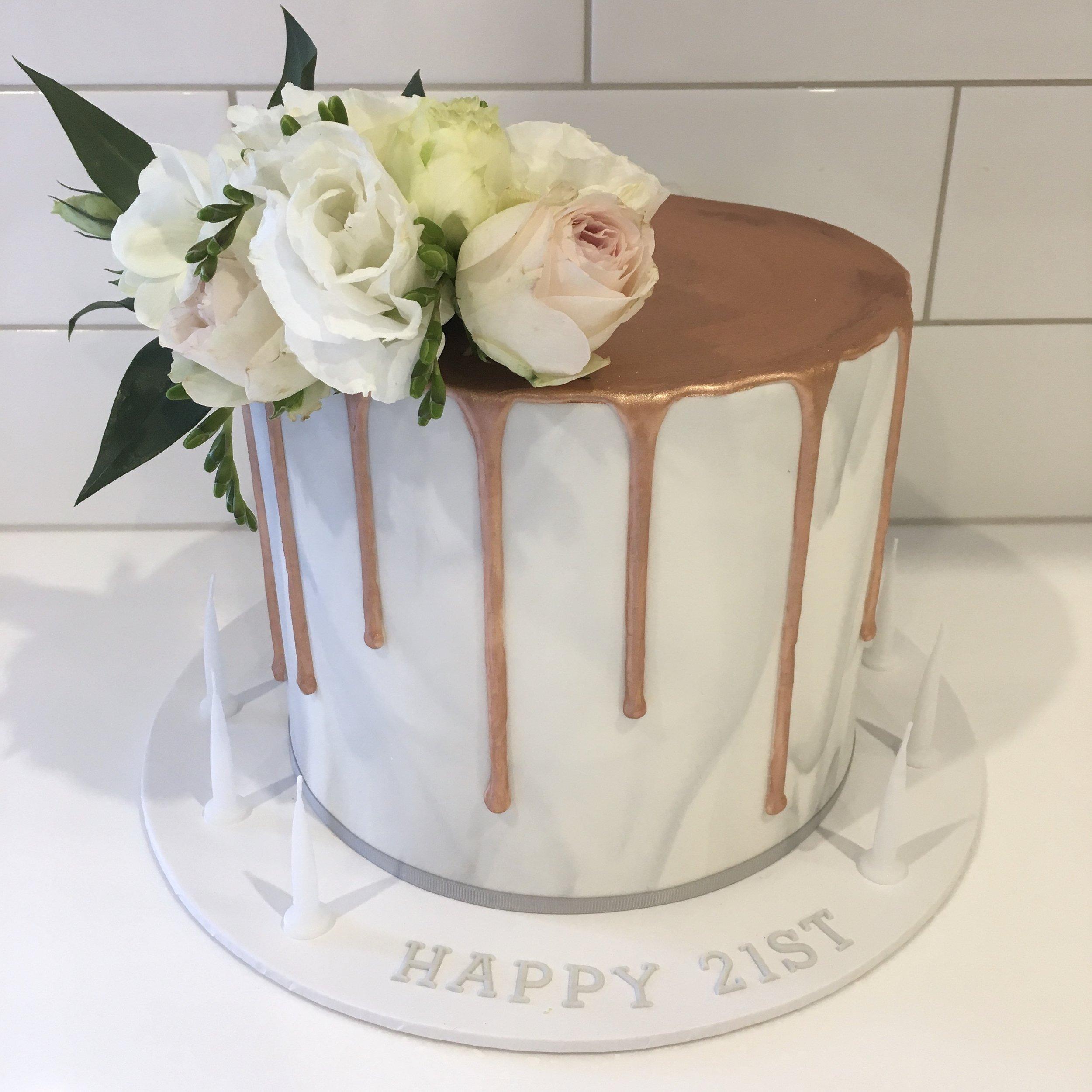 Copper Drip Birthday Cake