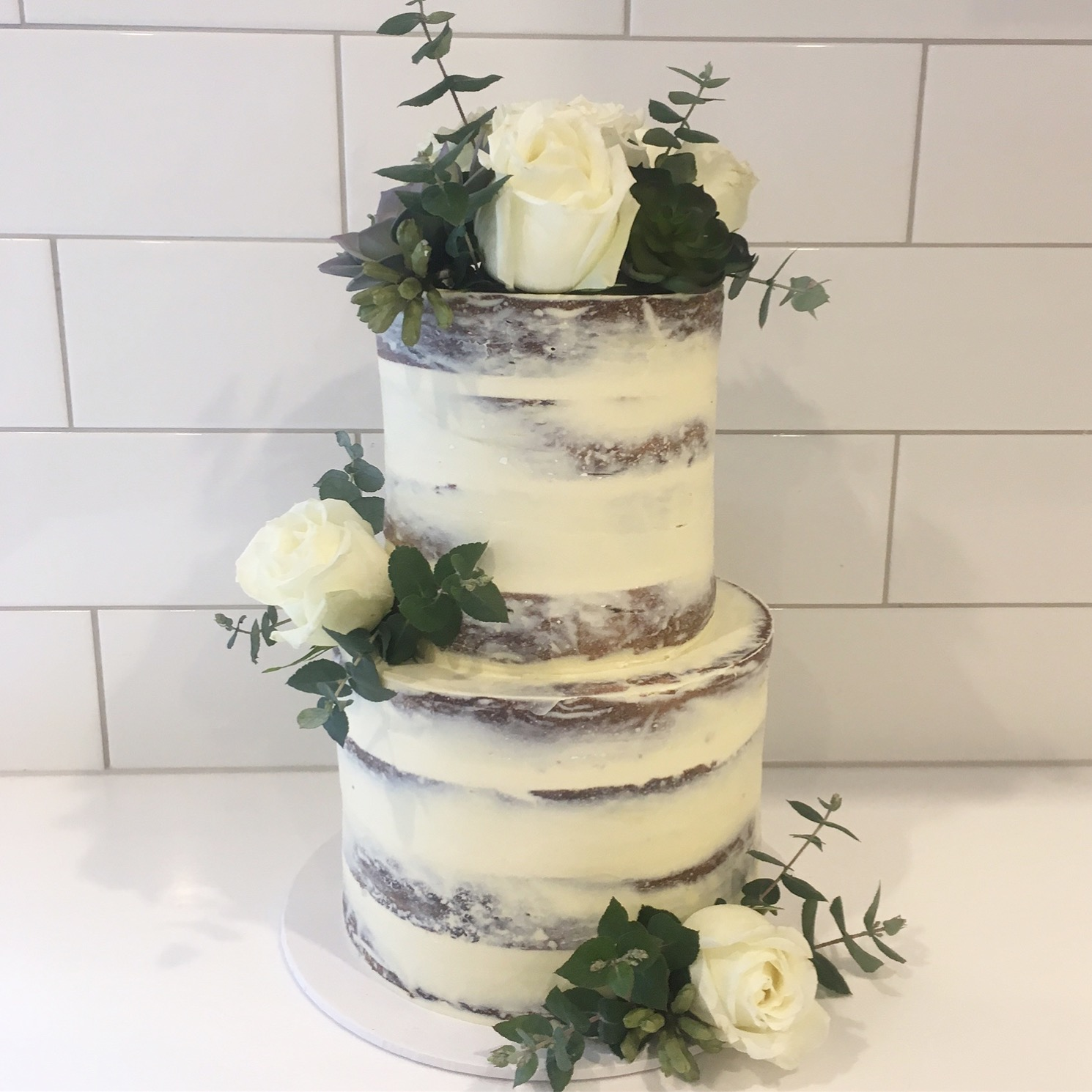 Naked Cake with White Flowers