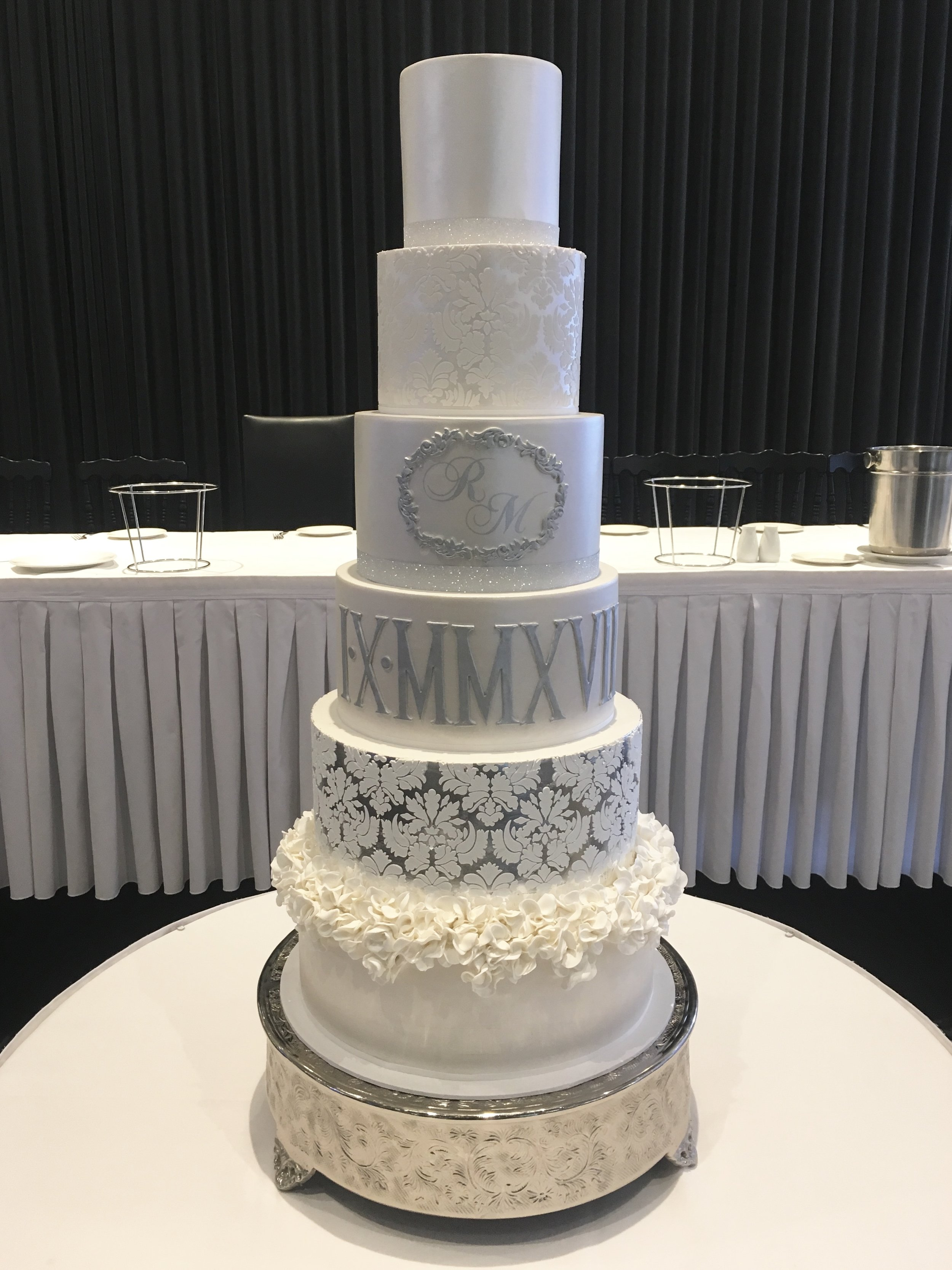 White and Silver Showstopper Wedding Cake