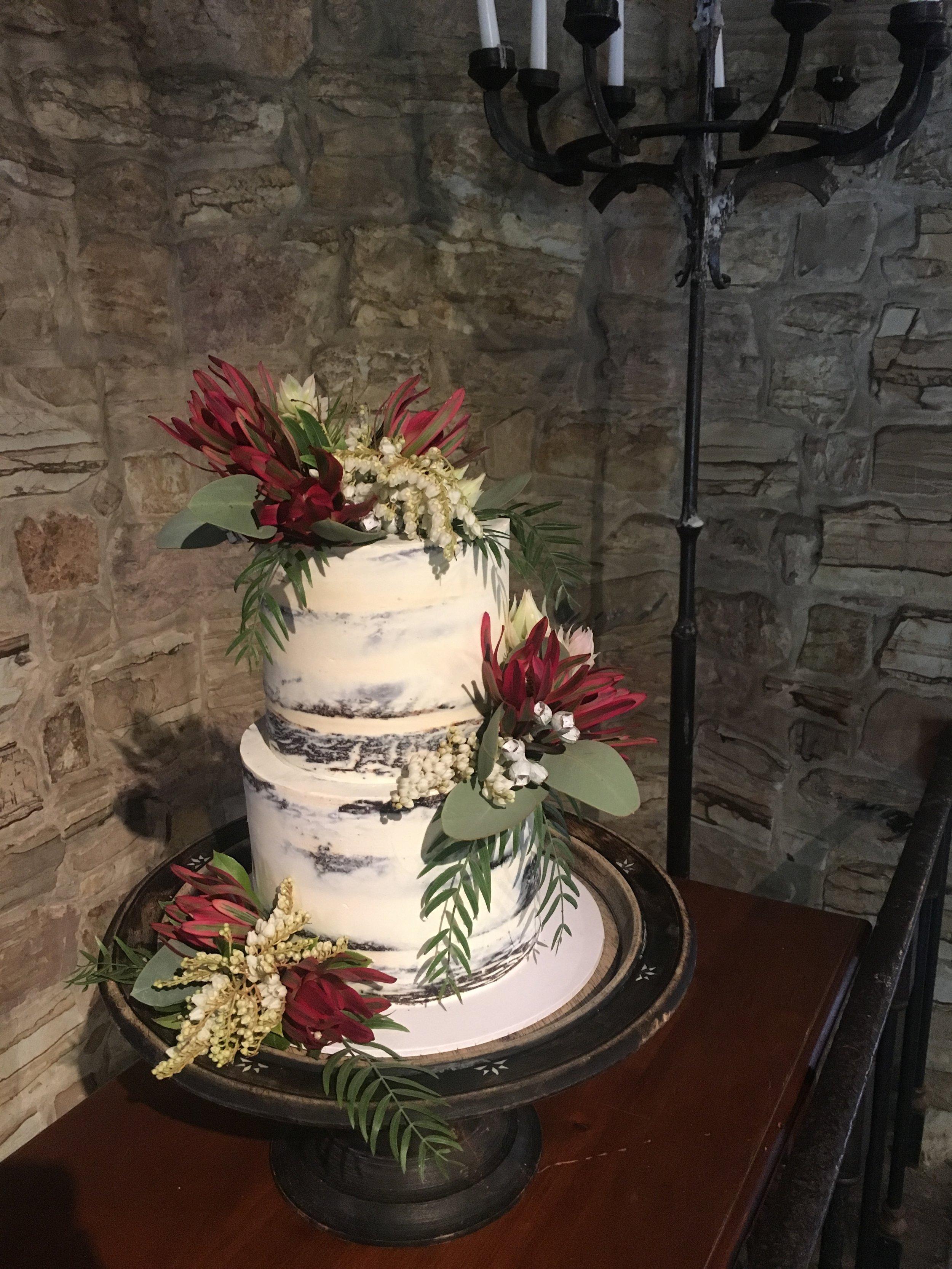 Naked Wedding Cake with Natives