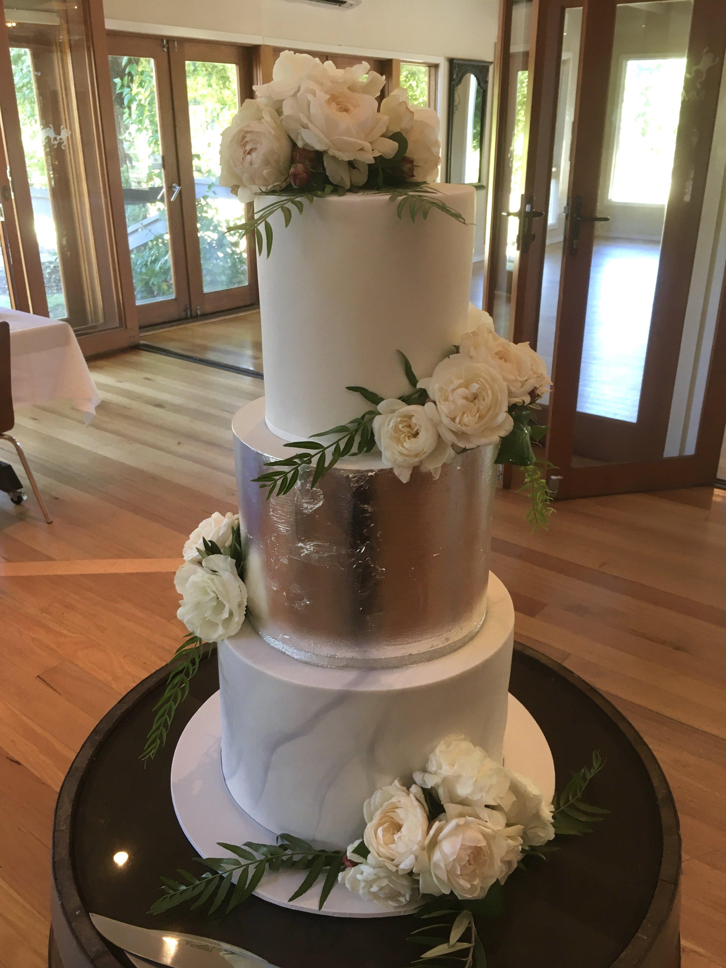 Wedding Cake with Silver Leaf