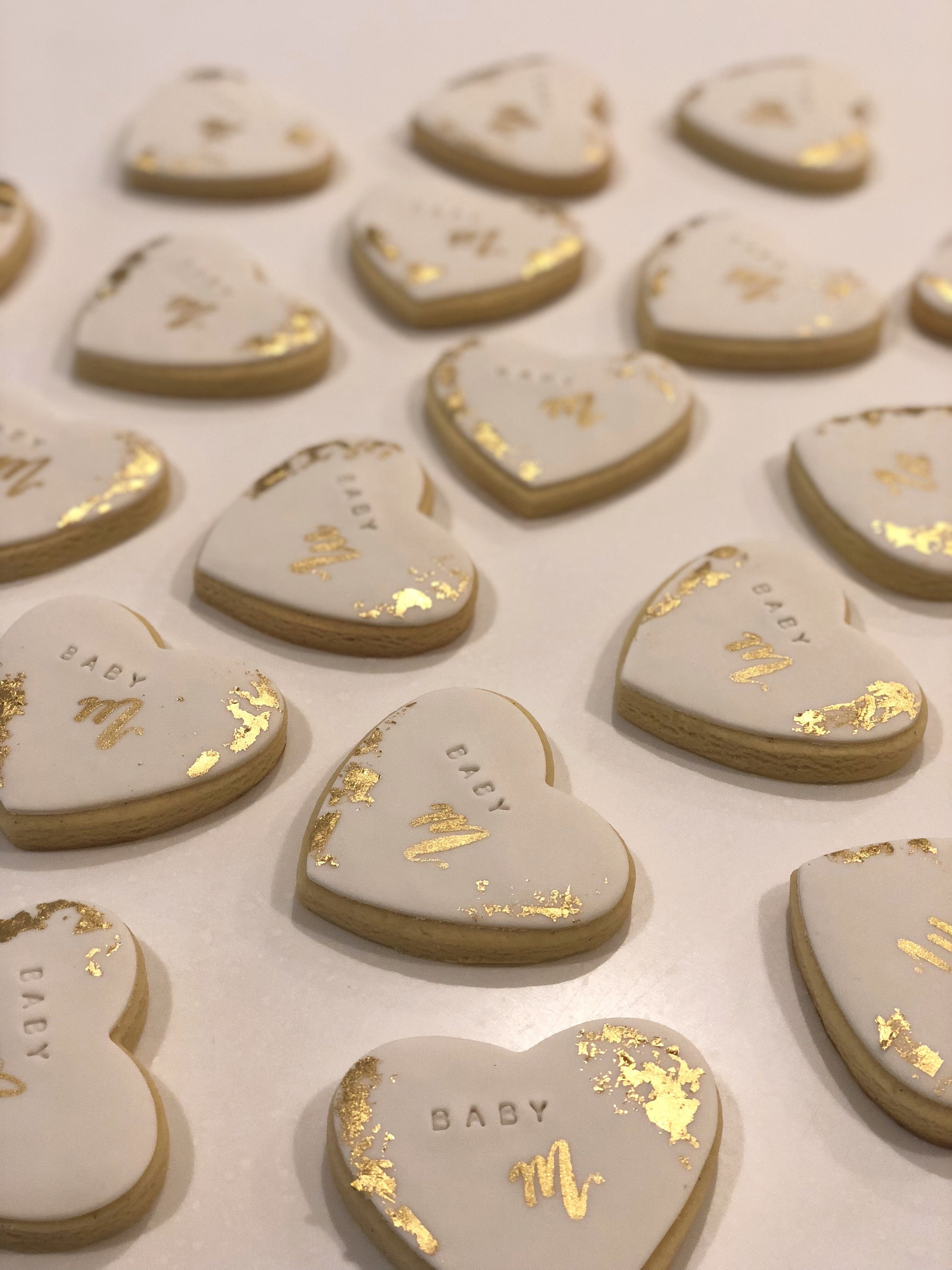 Heart Cookies with Gold Leaf