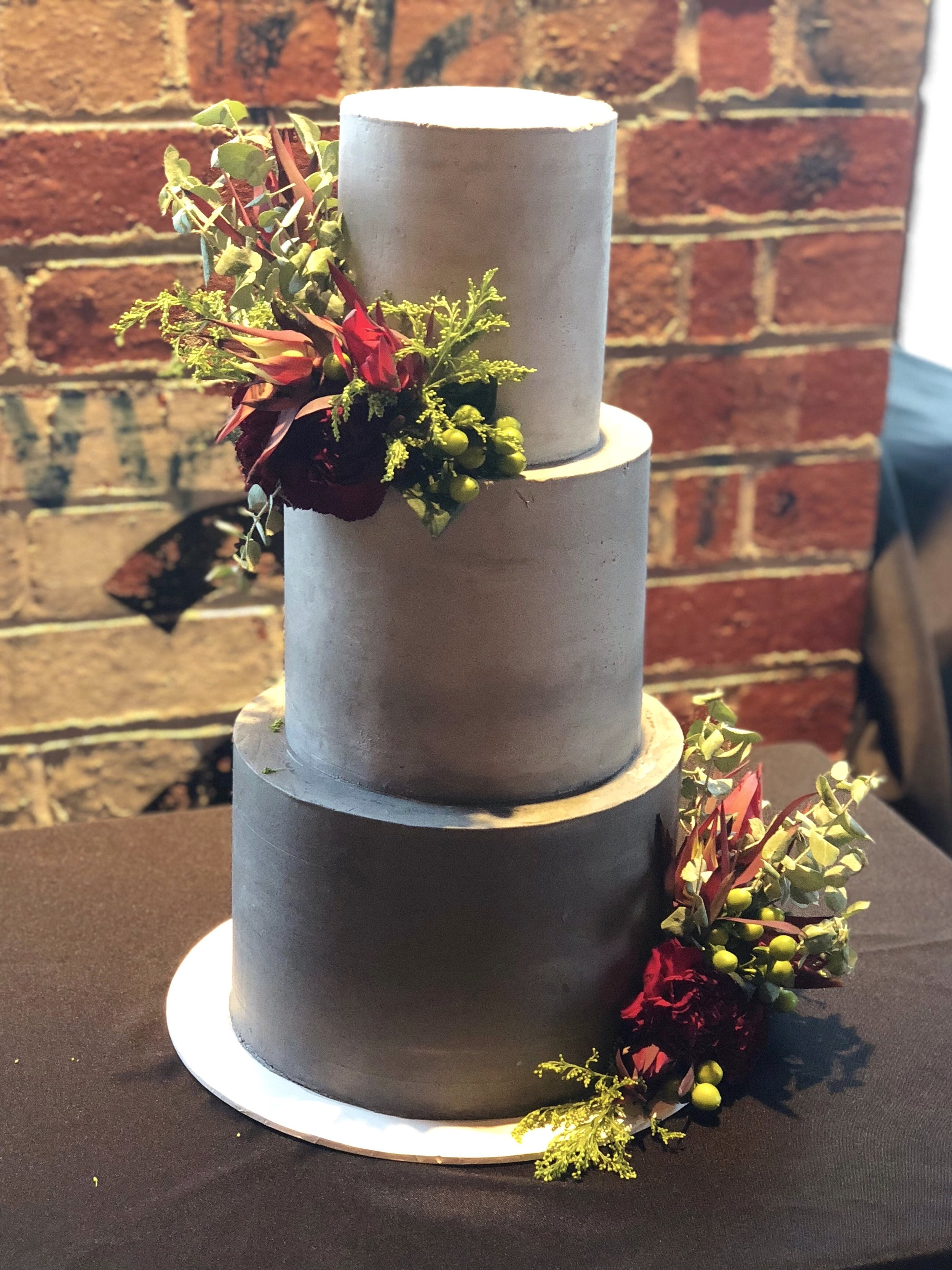 Concrete Wedding Cake with Flowers