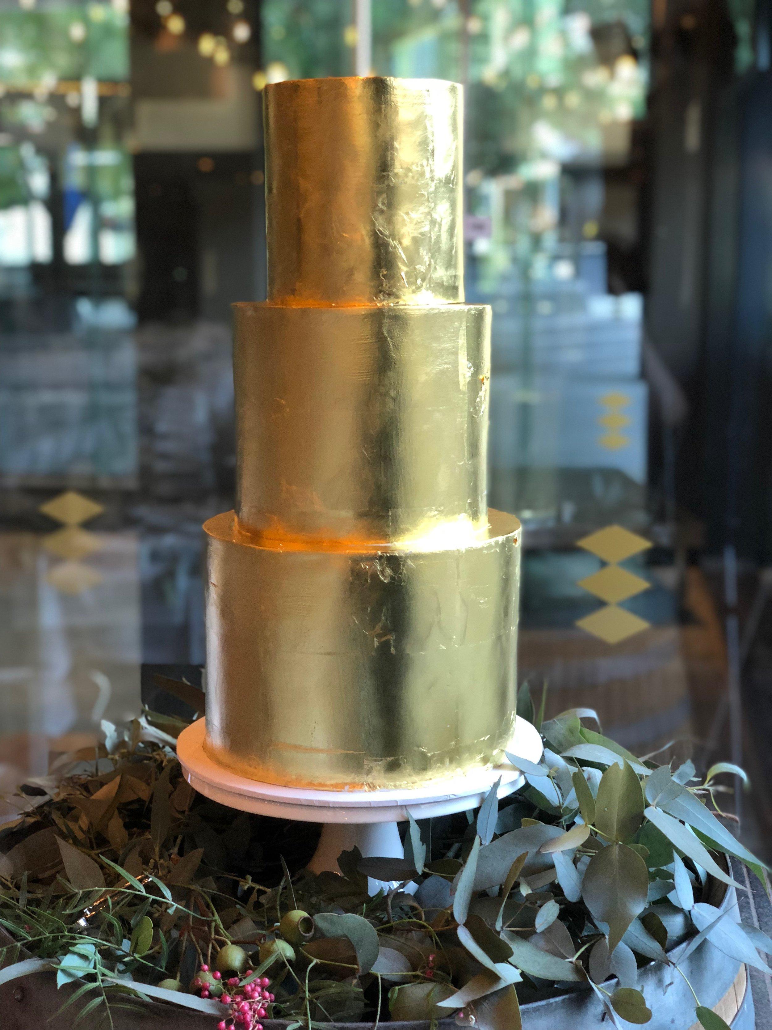 Gold Leaf Wedding Cake