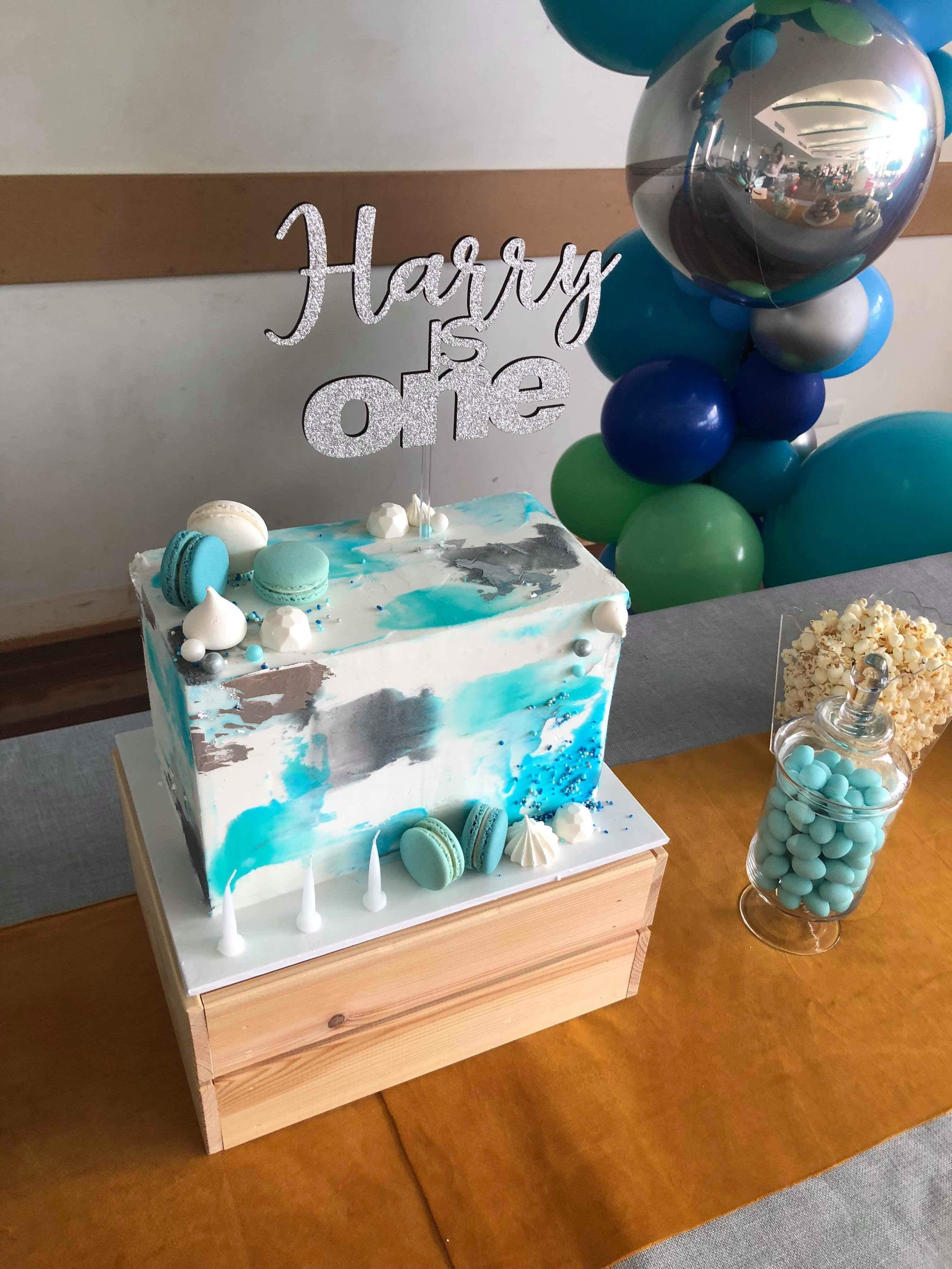 Blue First Birthday Cake